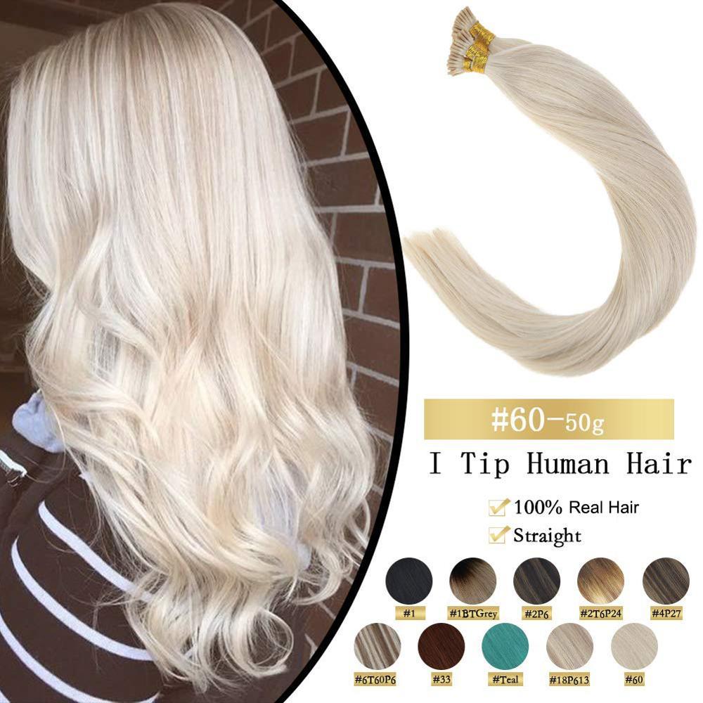 VeSunny Pre Bonded Keratin I Tip Stick Tip Hair Extensions 100% Real Human Hair Fusion Hair 50gr Per Set 14-24 inches