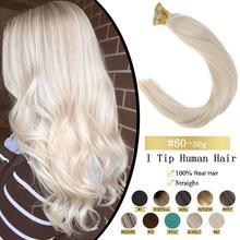 VeSunny ön gümrük Keratin I İpucu sopa ucu saç ekleme 100% gerçek insan saçı Fusion saç 50gr Set başına 14 24 inç