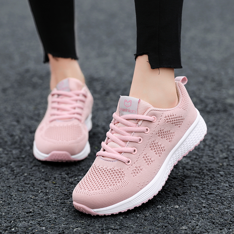 2020 New Sneakers Women Shoes Flats Fashion Casual Ladies Shoes Woman Lace-Up Mesh Breathable Female Sneakers Zapatillas Mujer 9