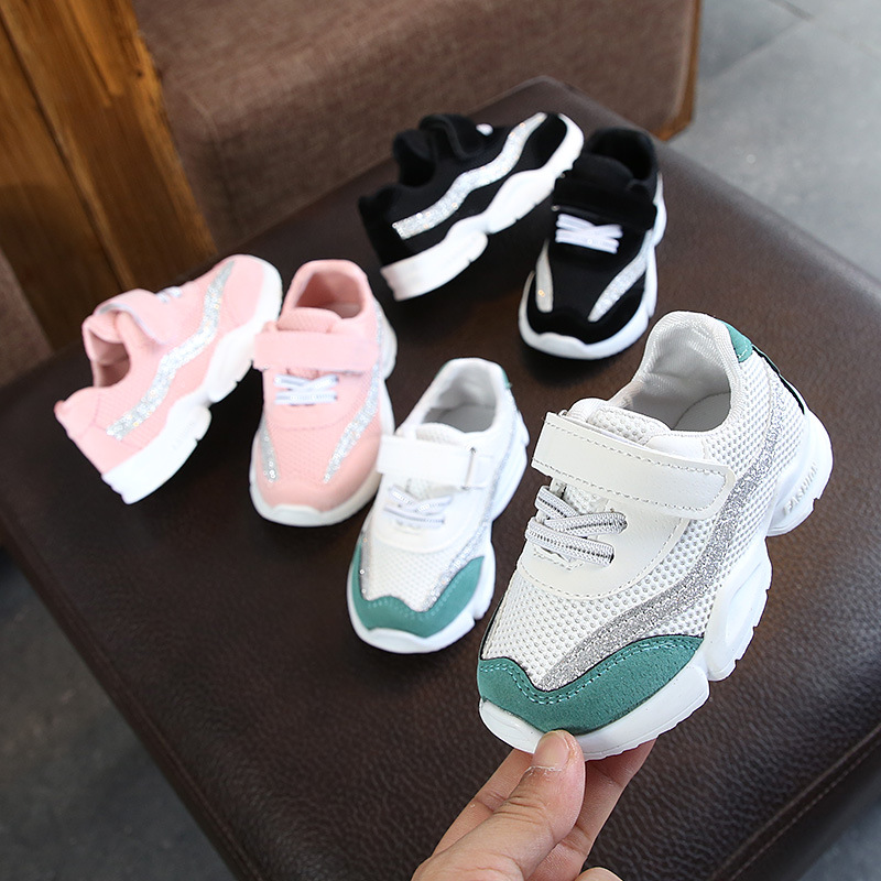 2020 High Quality Fashion Children Sneakers Hook&Loop Soft Baby Girls Shoes Soft Breathable Infant Tennis Comfortable Kids Shoes