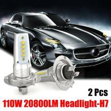 $ 7.59 1Pair H7 LED Headlight Conversion Set Cob Bulb 110W 10000LM White Low LED Headlights Bulbs Conversion Kit Lights Fog Lamps