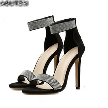 women luxury gold t strap rhinestone chunk heel sandals bling bling ankle strap crystal high heel thick heel sandals dress shoes AGUTZM Luxury Rhinestone Women Sandals Sexy Bling Crystal 11CM High Heel Women Sandals Elegant Party Shoes Women H187