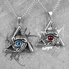 Collar largo de triángulo de ojo guardián para hombre, cadena colgante Punk para novio, joyería de acero inoxidable, regalo creativo, venta al por mayor