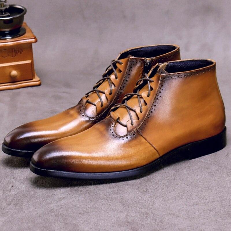 Модные мужские ботильоны на шнурках из натуральной кожи ручной работы; Мужская обувь для верховой езды с высоким берцем на квадратном каблу...