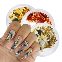 Dazzling Gold Flakes Paillette Nail Art Aluminum Red Luxury Nails Sequins Art Decoration Glitter for Gel Polish Stickers GL1872