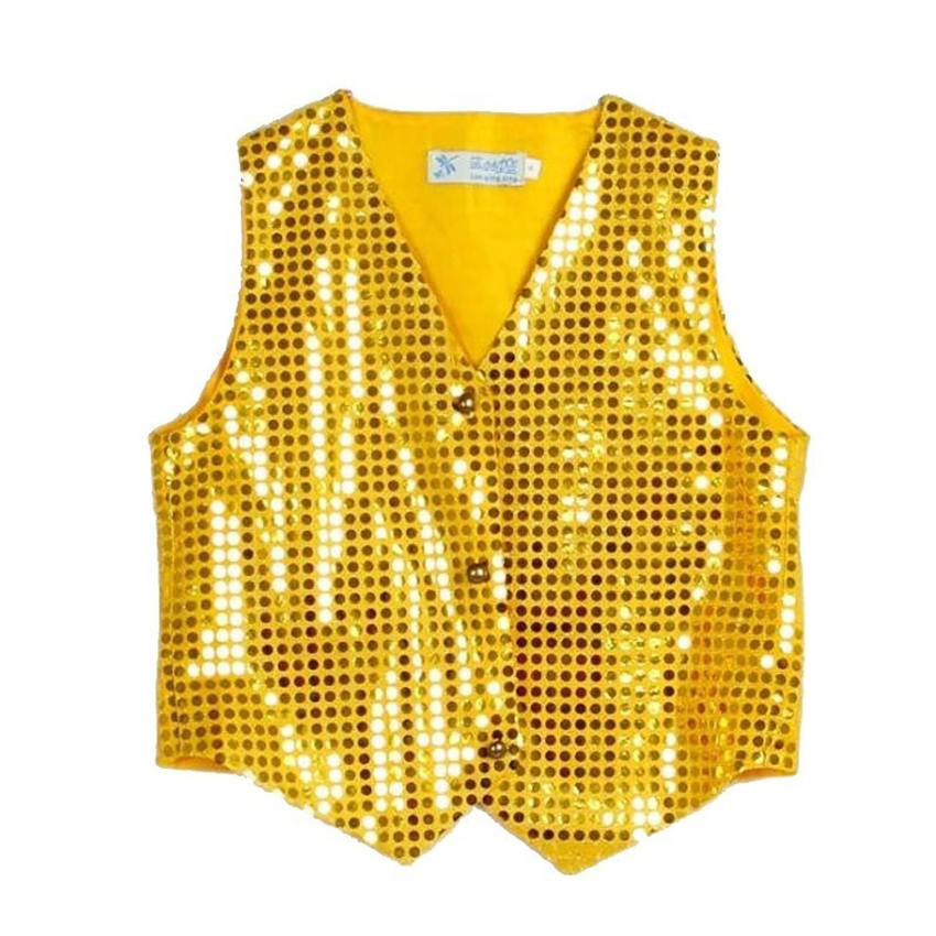Kids Boys Sequins Choir Jazz Dance Shirt Tops Party Pageant Shiny Clothes Stage