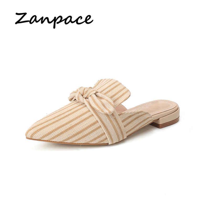 Phẳng Dép Nữ New 2020 Mùa Hè Thời Trang Sọc Trượt Bướm Trong Nhà Dép Thời Trang Plus Size 35-40 Giày phụ nữ