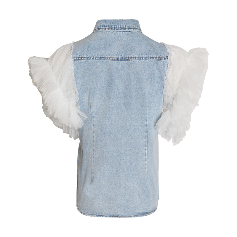 Image 2 - TWOTWINSTYLE Ruffles Denim Patchwork Womens Jacket Lapel Collar Puff Sleeve Summer Long Coats FemaleJackets