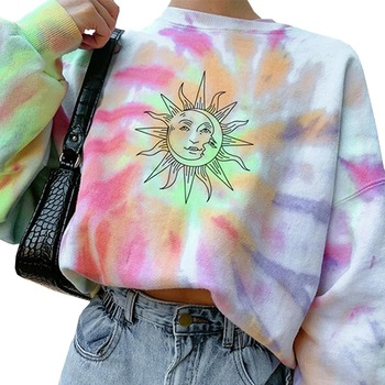Women Crew Neck Long Sleeve Sweatshirt Tie-Dye Rainbow Colorful Graffiti Printed Pullover Hoodies Casual Loose Trim Streetwear