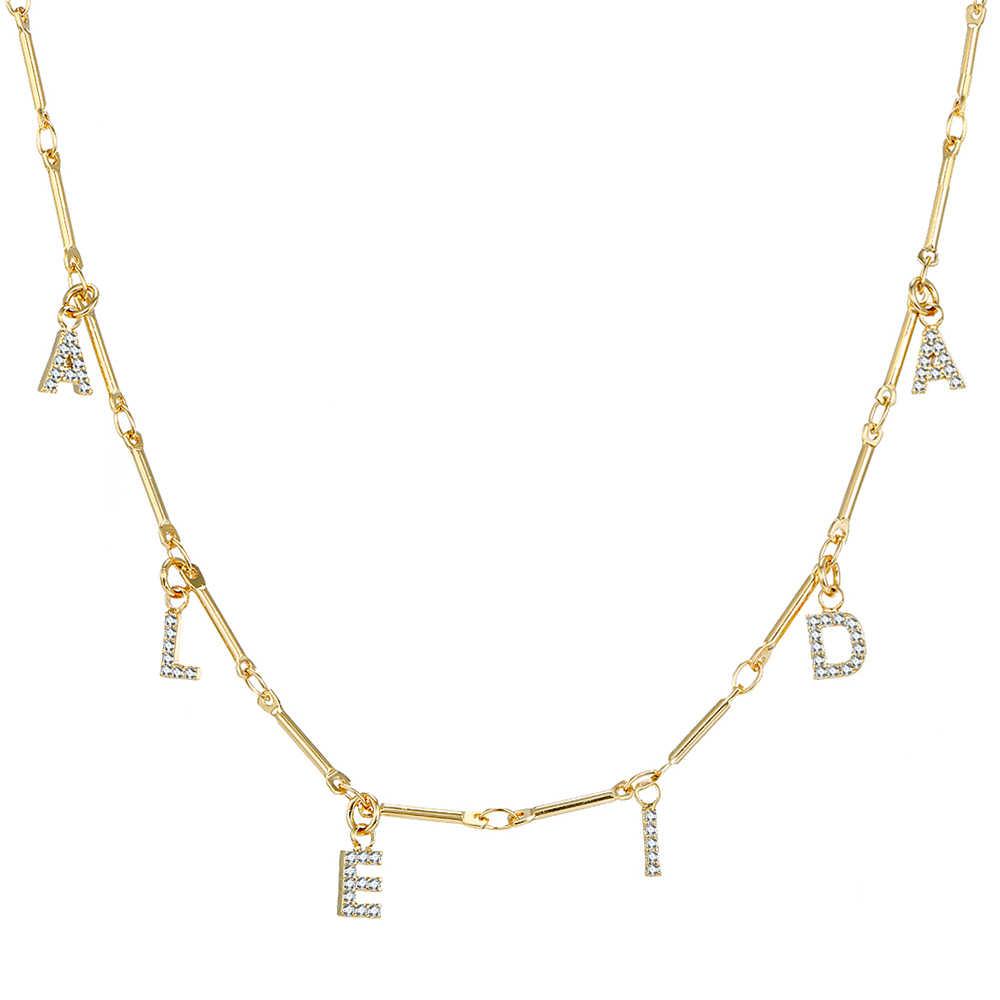 DOREMI 6 Mm Zirkonia Halskette Brief Pflastern Halskette Zahlen Personalisierte Halsketten mit Name Benutzerdefinierte Schmuck für Etsy Einzigartige Geschenke