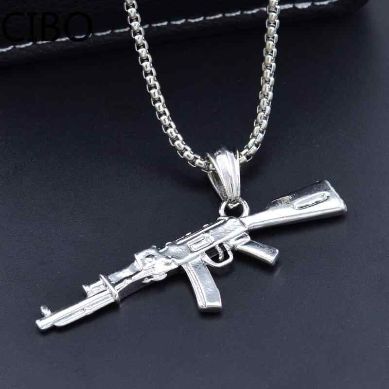 ノベルティカウンターストライク AK47 男性の銃ペンダントネックレスヴィンテージゴールドゴシックウジ-ライフル形のネックレス男性ジュエリー collares ギフト