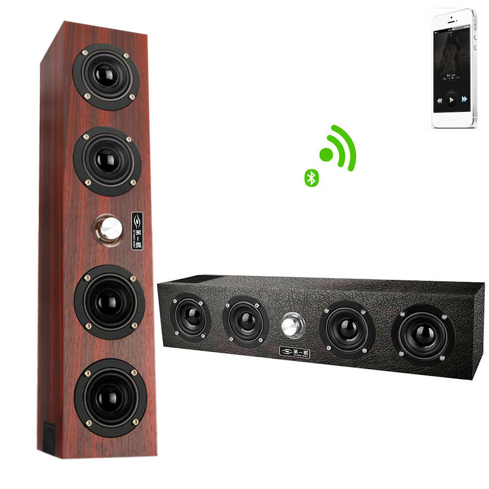 Kayu Portable20W Wireless Bluetooth Speaker Stereo PC TV Sistem Speaker Desktop Speaker Suara Kolom FM Radio Speaker Komputer