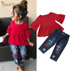Bear Leader/модные летние повседневные комплекты одежды От 1 до 6 лет красные футболки с рукавами-лепестками для маленьких девочек топы с цветочн...