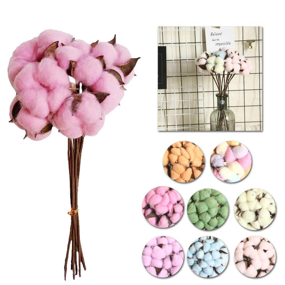 Высокое качество, натуральный искусственный цветок, наполнитель, сушеный цветочный хлопок, стебель, домашний декор