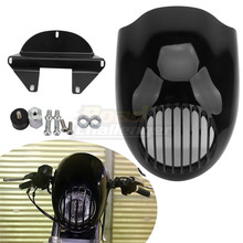 Black Motorcycle Visor Grill Front Headlight Cowl Fork Mount Headlight Fairing For Harley Sportster Dyna XL FX 883 1200