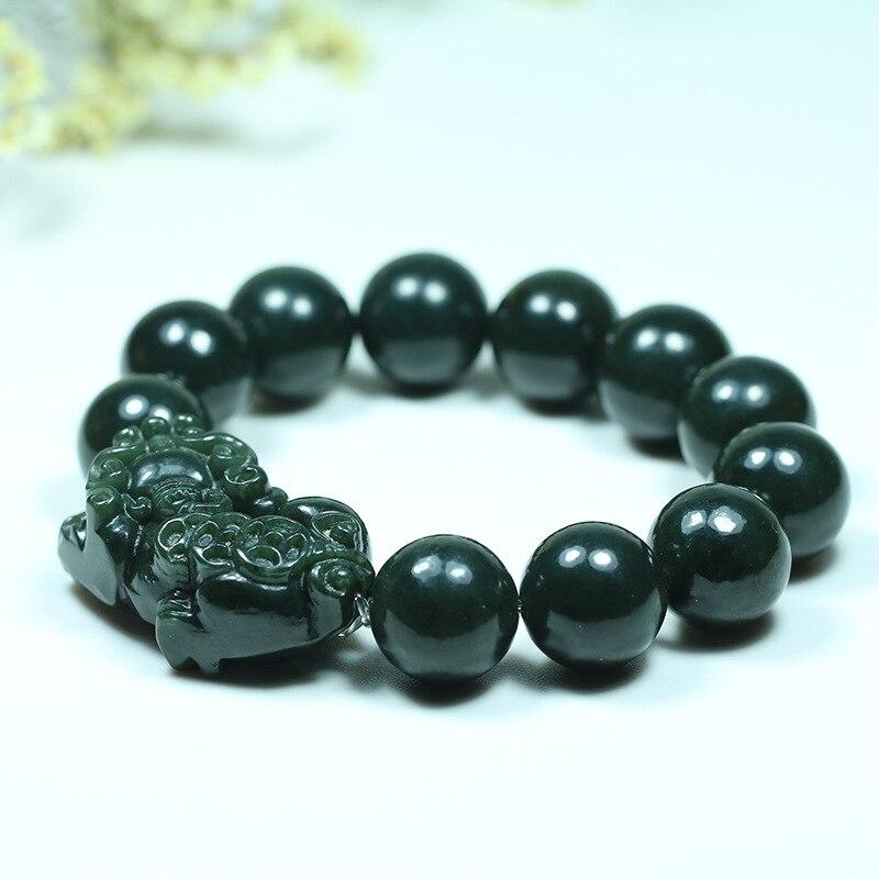 100/% Natural Green Hetian Jade Hand-carved Beads Bracelet
