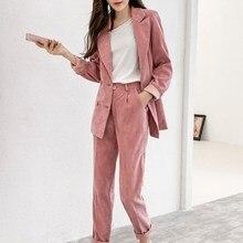 Autumn Winter Women Corduroy Plus Size Blazer 2 Piece Sets Casual Jacket Tracksuit Pants Suits