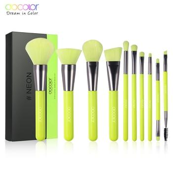 Docolor Neon Makeup Brush 10pcs Synthetic Hair Foundation Brush Blending Powder Blush Concealers Eye Shadows Makeup Brush Set 1