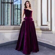 Sevintage трапециевидной формы длинные бархатные Выпускные платья