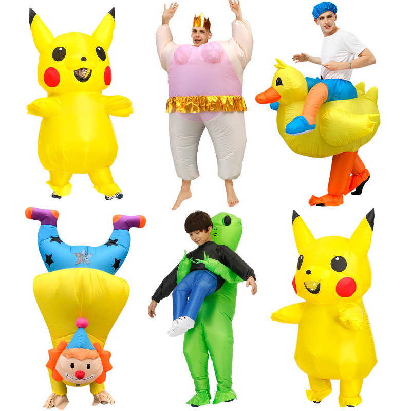 Inflatable Pikachu Costumes Cosplay Pokemon Mascot Costume For Kids Adults Party Christmas Halloween Costume For Women Men