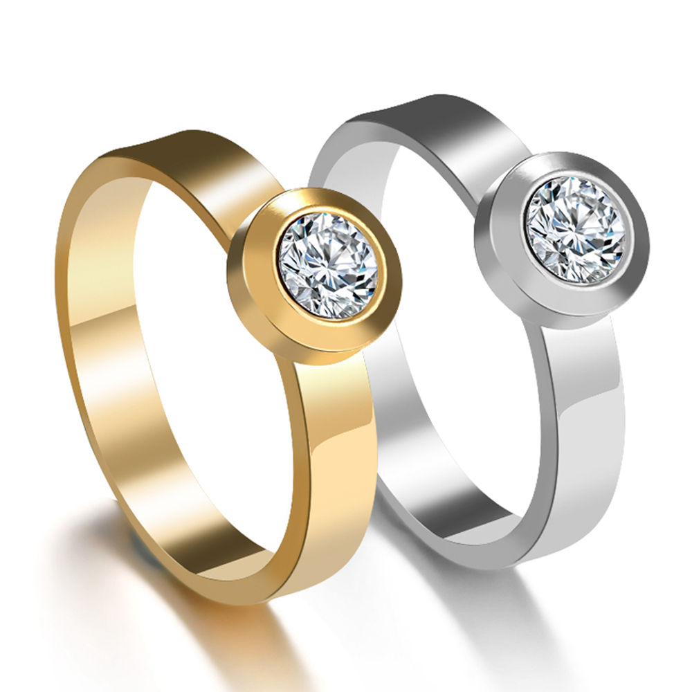 Trendy Gold Silver Stainless Steel Rings For Women Engagement Party Romantic Rhinestone  Finger Ring CoupleJewelry Lover Gift