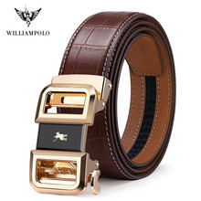 WilliamPolo Famous Brand Belt Men Top Quality Genuine Luxury Leather Belts for Men Strap Male Metal Automatic Buckle