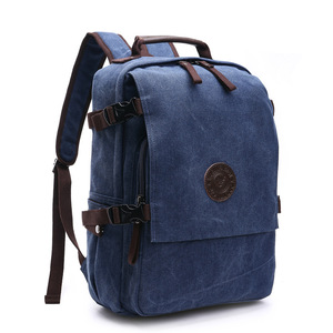 Image 3 - High Grade Canvas Backpack Men Solid Color Laptop Bags 15.6inch Superior Vintage Outdoor Design Durable New Trend Classic