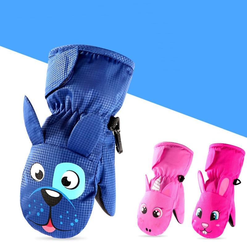 Милые зимние теплые лыжные перчатки с героями мультфильмов, детские варежки для снегохода, водонепроницаемые сноубордические перчатки для девочек и мальчиков, детские вельветовые перчатки