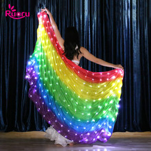 Ruoru Belly Dance LED Veil 100% Silk rainbow Colors Stage Performance Props Accessories Veils