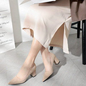 Image 2 - 2020 Shoes for Women Slip Ons Square High Heels Office Lady Flock Pointed Toe Sexy Wedding Heeled Solid Black Heels Woman Pumps