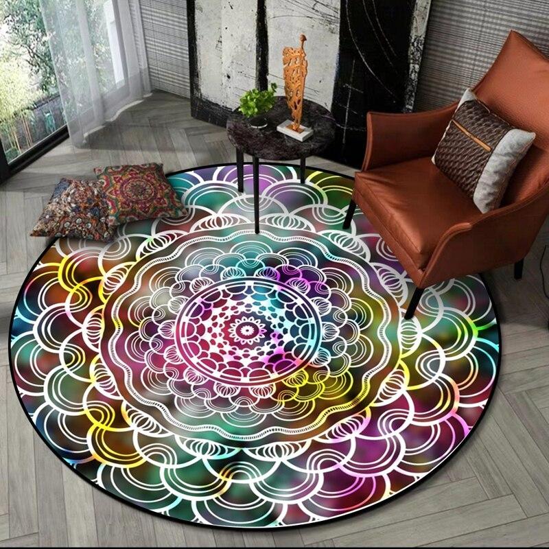 Indian Mandala Round Carpet Classic Ethnic Geometric Flower Sofa Living Room Area Rugs European Retro Bedroom Non-Slip Floor Mat