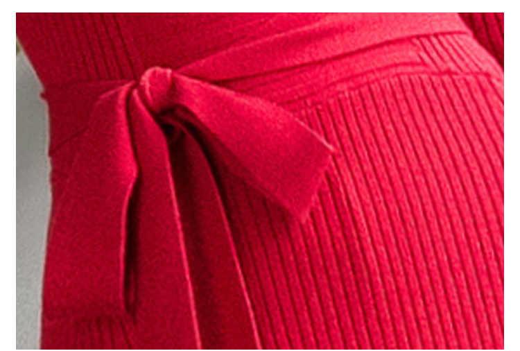 Sweter jesień kobiety sukienki z dzianiny golfem z długim rękawem elegancka dama czerwona sukienka bodycon sukienka kobieta Vestidos LX1489