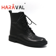 HARAVAL New Fashion Women Ankle Boots Martin boots Spring Autumn Low heels Genuine leather women shoes Boots Factory Hot Sale D 2018 free shipping new spring and autumn low heeled leather round head woman boots women martin boots females casual shoes lx5