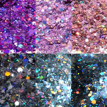 50g MIX Size Hexagon Nail Art Glitter 3D Eye/Face/Body Chunky Powder Rainbow Holographic Pigment Flakes