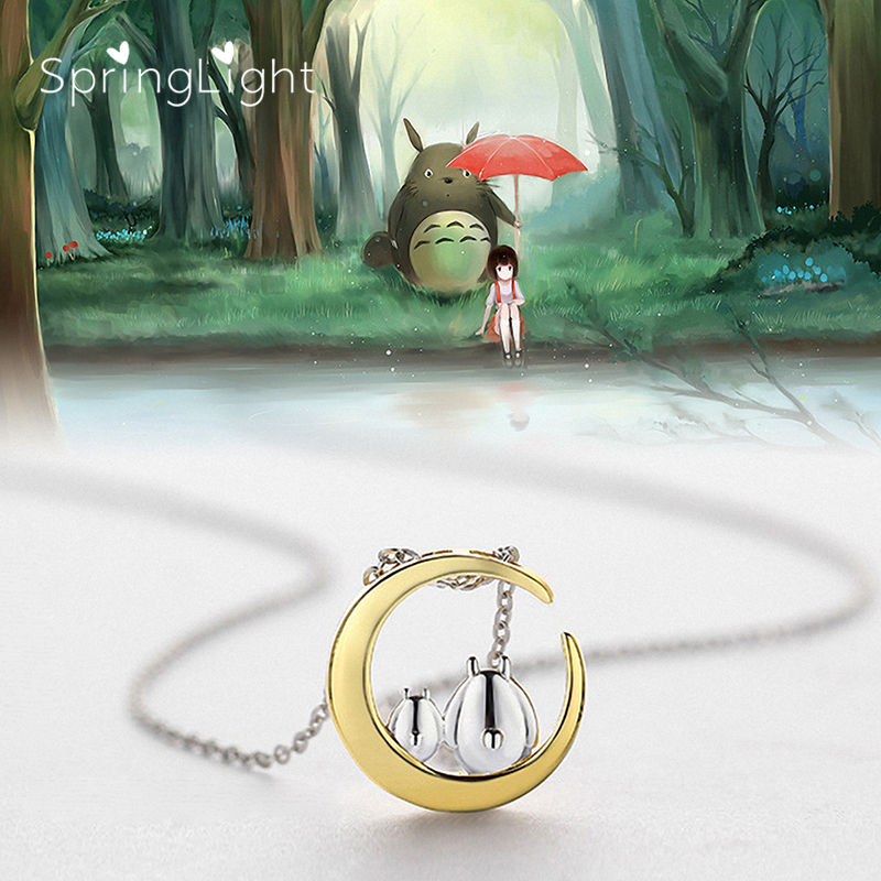 SpringLight Unique Totoro Necklace Real 925 Sterling Silver Creative Fine Jewelry 18K Gold Moon Pendant for Women Girls Gift