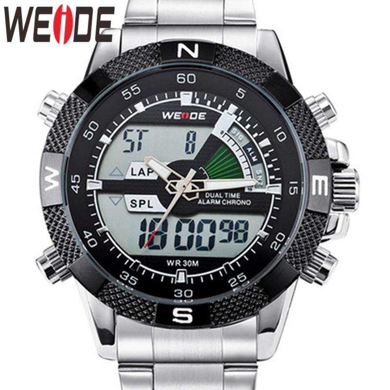 WEIDE Watch Military Reloj Hombre Tops Luxury Business Stainless Steel Strap Quartz Wristwatch Clock Relogio Masculino Men Watch