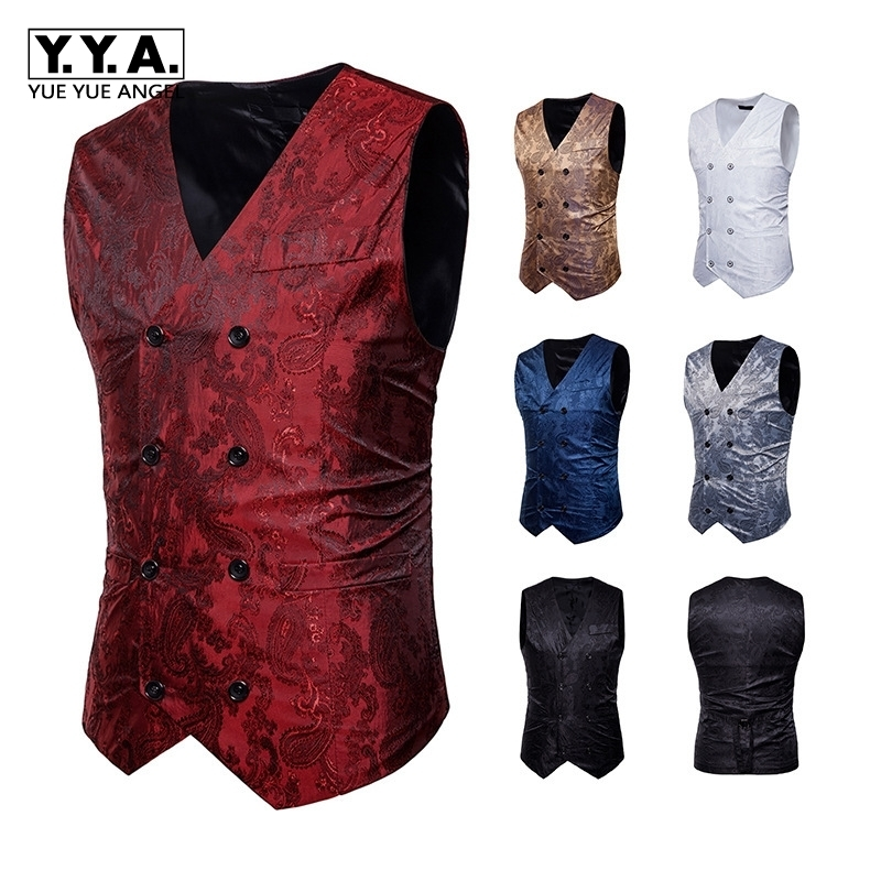 2020 New Spring Mens Groomsmen Waistcoat Korean Double-Breasted Suit Vest V-Neck Male Plus Size S-XXL White Red Black Gold Blue