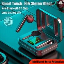 Новый Беспроводной наушники V5.0 наушники-вкладыши TWS с Беспроводной Bluetooth наушники светодиодный Дисплей интеллигентая (ый) подавление шума с...