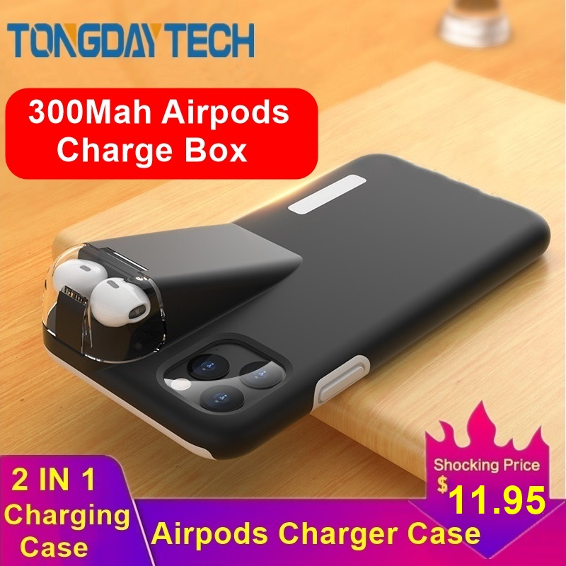 Tongdaytech Luxury Shockproof Case For iPhone 11 Pro Max Coque Xs Max XR X 8 7 6 6S 300Mah Charging Box Cover For AirPods 2 1