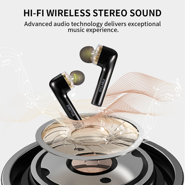 Original SYLLABLE S119 bluetooth V5.0 bass earphones wireless headset noise reduction SYLLABLE S119 Volume control earbuds 3