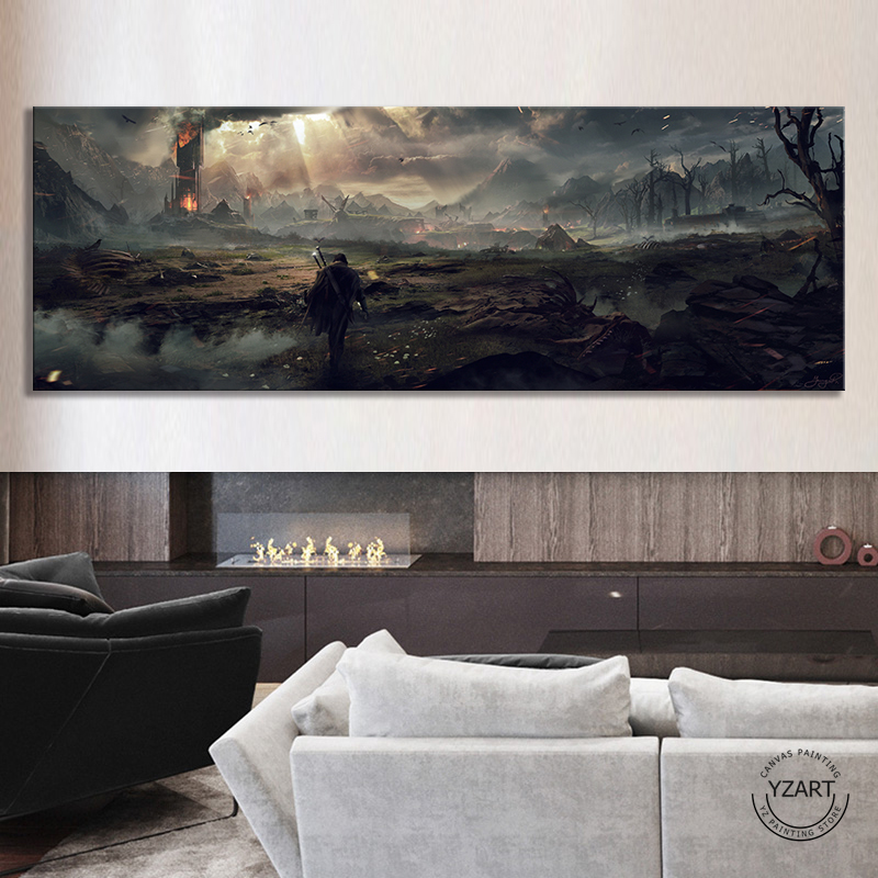 Middle Earth Shadow of Mordor Video Games Art Wall Decor Painting The Lord of The Rings Movie Poster Wall Art Canvas Painting 2