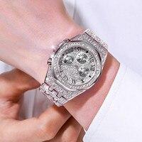 Männer Hohe Qualität Unisex Luxus Diamant Uhr Quarz Uhren Edelstahl Gurt Beiläufige Armbanduhren Montre homme Elegante