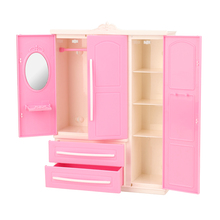 Newest fashion pink doll wardrobe clothes shoes hanger dresses dolls house accesories closet for barbie dolls best DIY gift