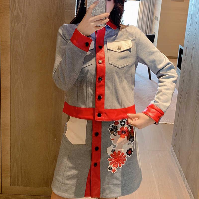 JSXDHK дизайнерский осенне-зимний комплект из двух предметов, Модный женский серый красный костюм: куртка в стиле пэчворк + юбка-трапеция с мультяшной вышивкой