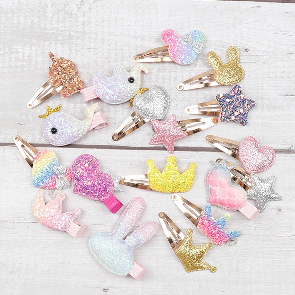 Oaoleer 6 Pcs/Lot Hair Accessories Cartoon Glitter Hair Clips For Girls Princess BB Hairpins Baby Korean Hair Barrettes