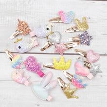 Oaoleer 6 Pcs/Lot Hair Accessories Cartoon Glitter Clips for Girls Princess BB Hairpins Baby Korean Barrettes