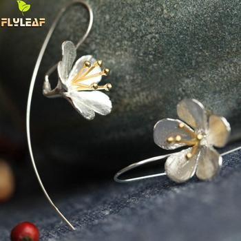 925 Sterling Silver Flower Long Tassel Earrings For Women Thai Process Elegant Lady Sterling-silver-jewelry Free Shipping 925 sterling silver willow leaves tassel long earrings for women luxury lady party fashion jewelry flyleaf