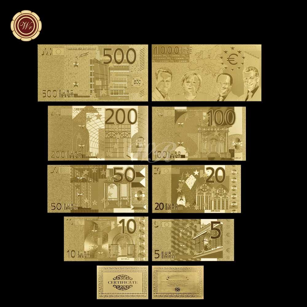 Venta al por mayor 4 Uds WR 24k oro Billet euro billetes falsos billete Prop papel dinero coleccionables hombres regalo para Dropshipping
