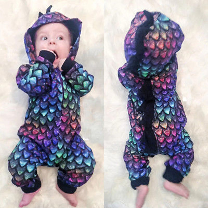 Children Europe And America Spring And Autumn-Men And Women Children Dinosaur Modeling Hooded Long Sleeve Onesie Crawling Clothe