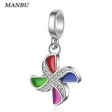 925 Sterling Silver Enamel windmill fine pendant Beads Jewelry making fit Original Pandora Charm Bracelet for women anniversary стоимость